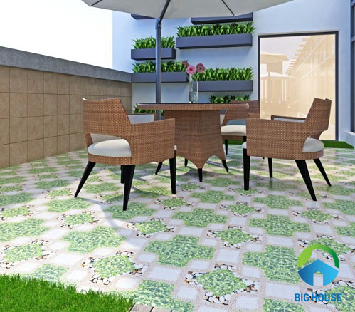 Phối cảnh với gạch cỏ lát sân vườn Vitto 3788