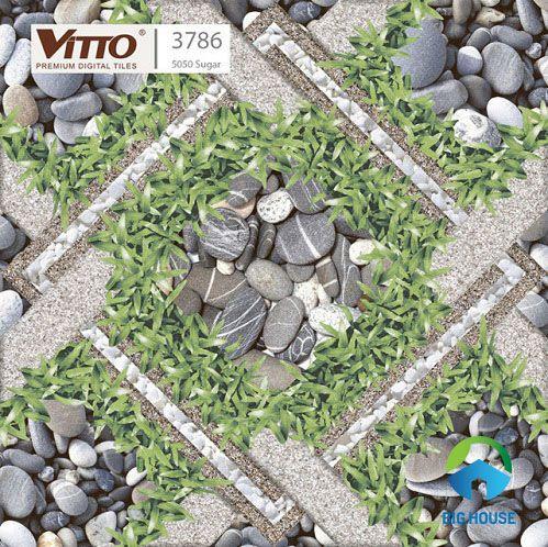 Phối cảnh với gạch giả cỏ sỏi Vitto
