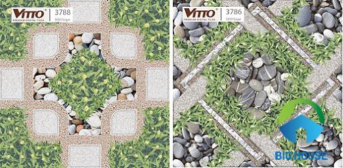 gạch giả sỏi kết hợp họa tiết cỏ
