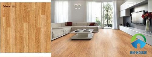 Mẫu gạch lát nền phòng khách Vitto giả gỗ chất lượng cao