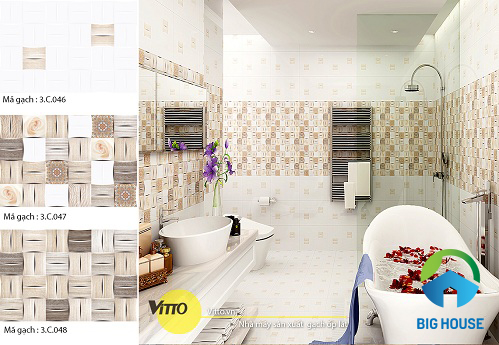 các mẫu gạch ốp nhà vệ sinh vitto đẹp