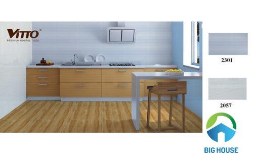 Gạch ốp tường bếp màu xanh đem lại cảm giác tươi mới