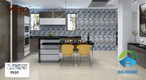 Các mẫu gạch ốp tường nhà bếp màu xanh nhẹ nhàng tinh tế