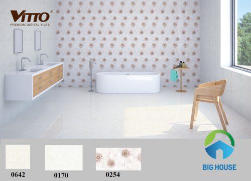 phối cảnh gạch ốp nhà vệ sinh vitto cho không gian lớn