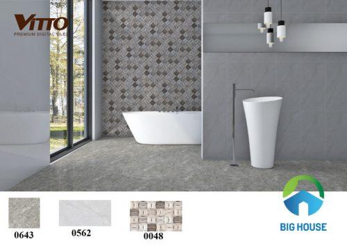 phối cảnh gạch ốp nhà vệ sinh vitto - Đẹp - sang trọng