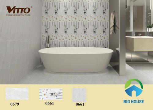 phối cảnh gạch ốp nhà vệ sinh vitto cho không gian nhỏ