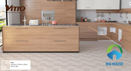 Phối cảnh với mẫu gạch lát 30x30 cho nhà bếp sang trọng