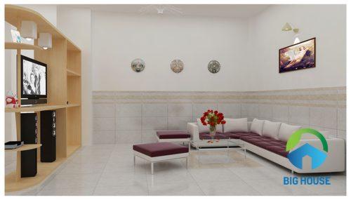 Phối màu gạch ốp tường phòng khách