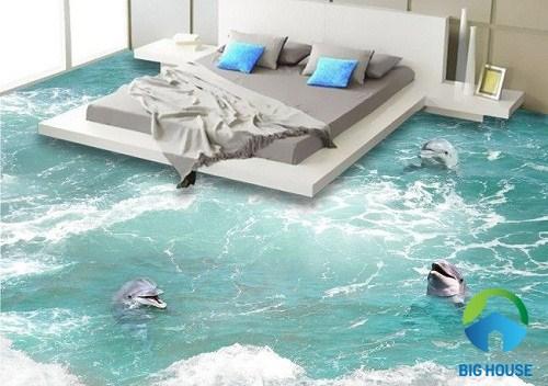 Mang cả đại dương xanh vào phòng ngủ với mẫu gạch lát nền 3D này