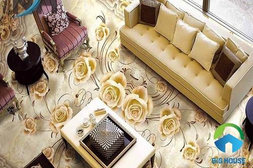 gạch 3d lát nền hoa hồng ấn tượng