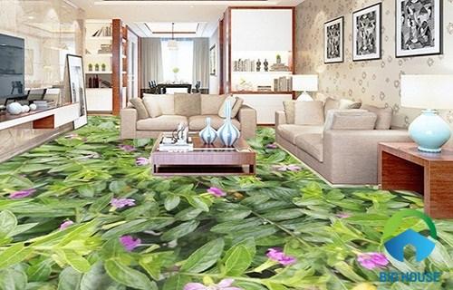 gạch 3d lát nền phòng khách họa tiết hoa lá