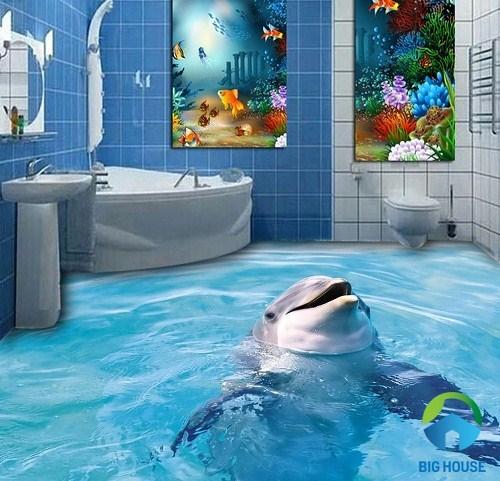 gạch 3d lát nền phòng tắm