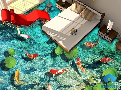 """Gạch 3D với phong cảnh """"cửu ngư quần hội"""" dành cho phòng ngủ"""
