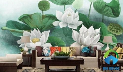 Mẫu gạch tranh 3d họa tiết hoa sen trang nhã
