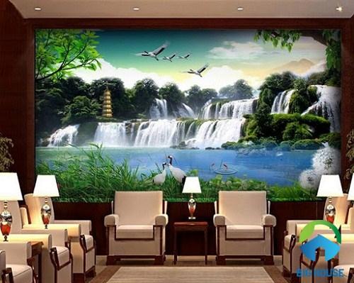 gạch 3d ốp tường phong cảnh thác nước đẹp mắt