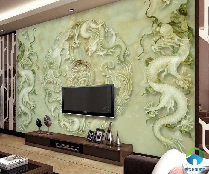 gạch 3d trang trí phòng khách họa tiết rồng bay