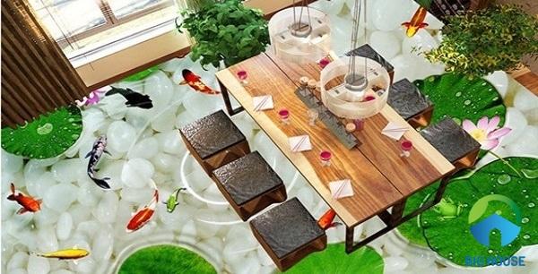 gạch 3d phòng ăn