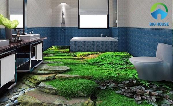 gạch 3d phòng tắm thiên nhiên hoang dã