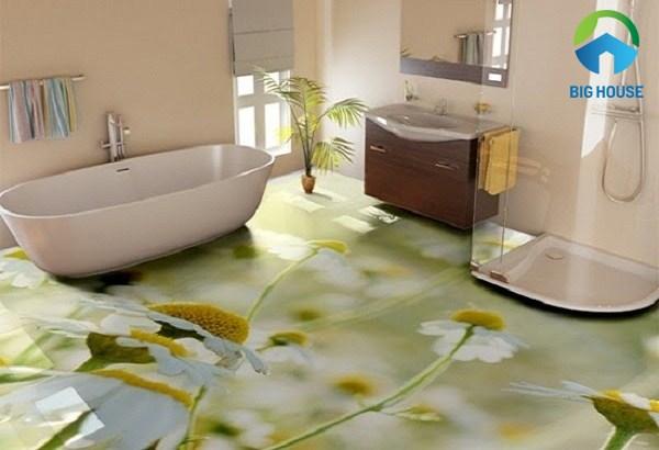 gạch 3d phòng tắm hoa cỏ mùa xuân