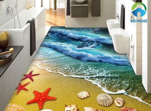 gạch 3d phòng tắm bãi biển độc đáo