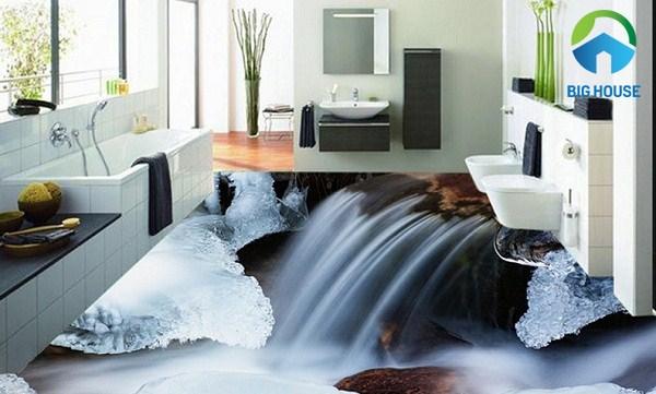 gạch 3d phòng tắm dạng suối nước