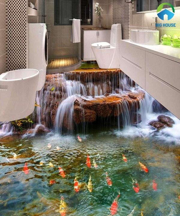 gạch 3d phòng tắm dạng thác nước đẹp mắt