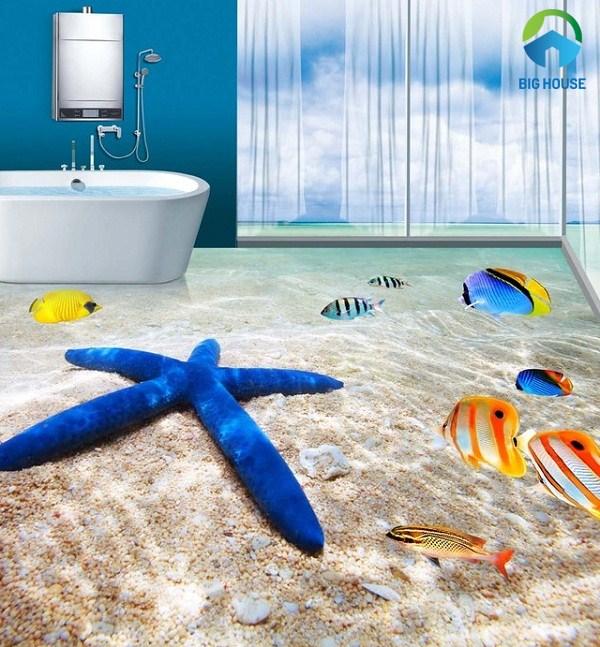 gạch 3d phòng tắm dưới đáy đại dương