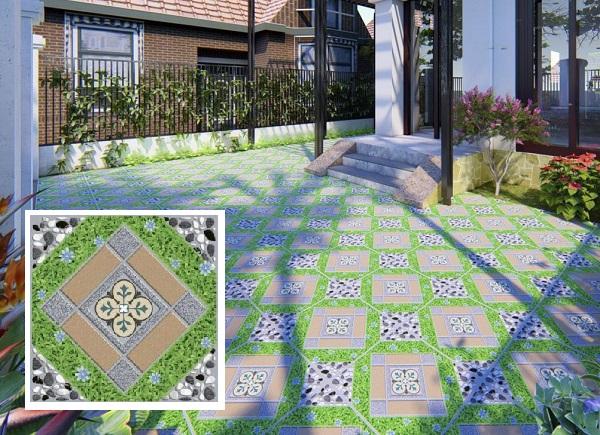 gạch giả cỏ 50x50 lát sân vườn lạ mắt