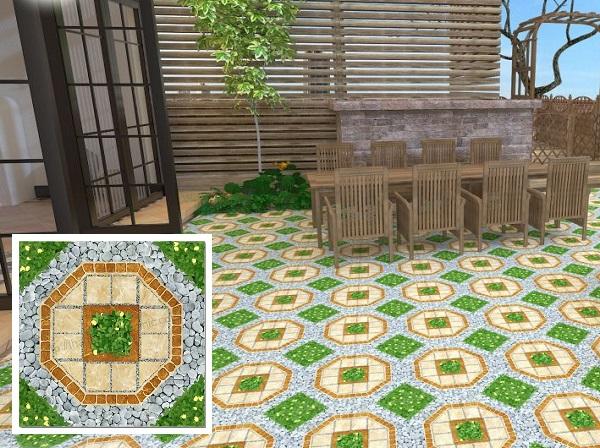 gạch lát sân vườn giả cỏ 50x50