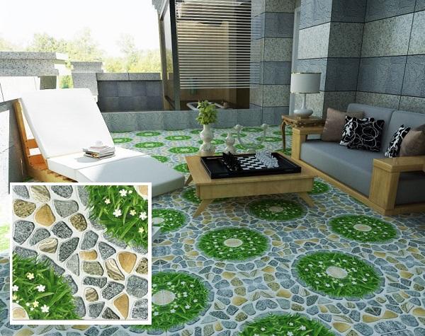 mẫu gạch cỏ 50x50 lát sân họa tiết cỏ tre xanh đậm điểm hoa trắng