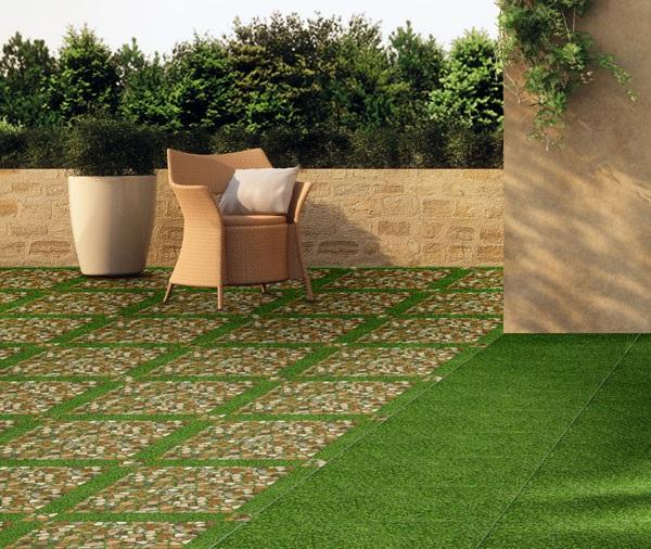 gạch cỏ lát sân thượng kết hợp giả đá