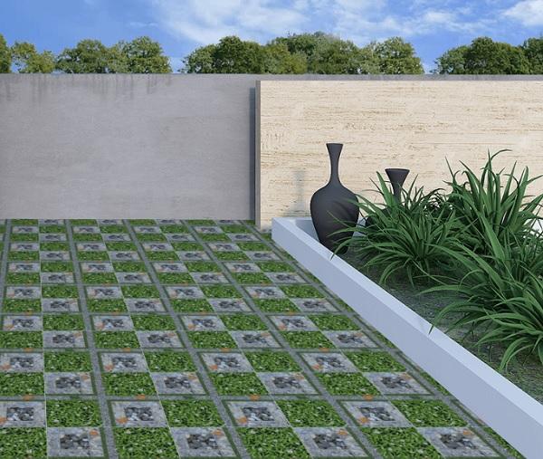 mẫu gạch cỏ lát sân thượng