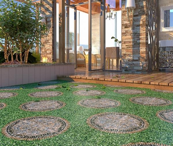gạch cỏ lát sân thượng kết hợp giả sỏi ấn tượng
