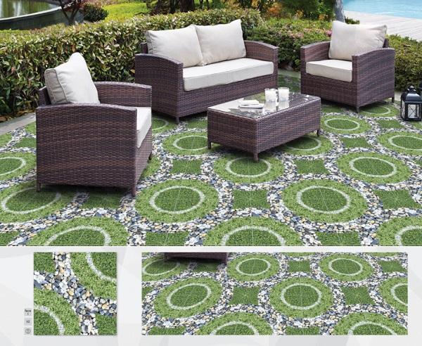 Gạch giả cỏ lát sân vườn màu xanh