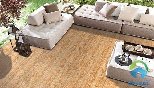 Gợi ý mẫu gạch lát nền phòng khách giả gỗ