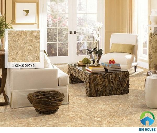 Mẫu gạch màu nâu vàng, họa tiết vân đá phù hợp với không gian sang trọng