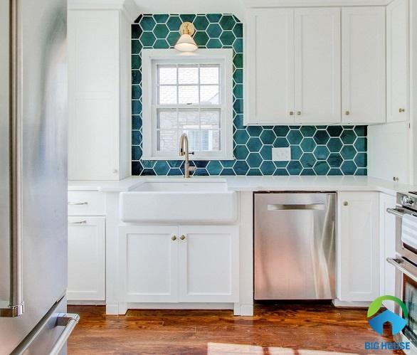 gạch lục giác bóng ốp nhà bếp