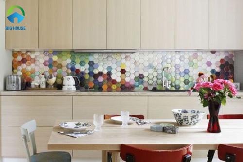 gạch lục giác ốp bếp màu sắc đa dạng