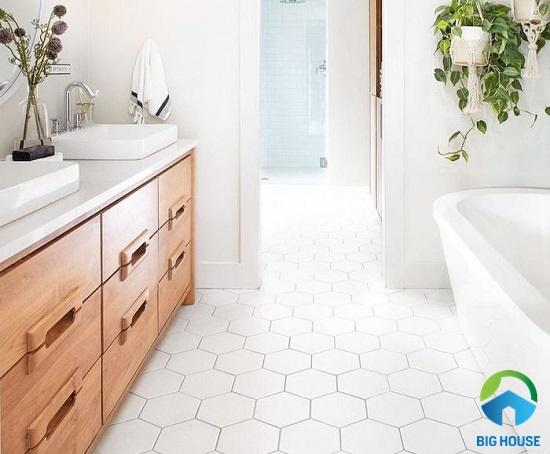 mẫu gạch lục giác trắng lát nhà tắm