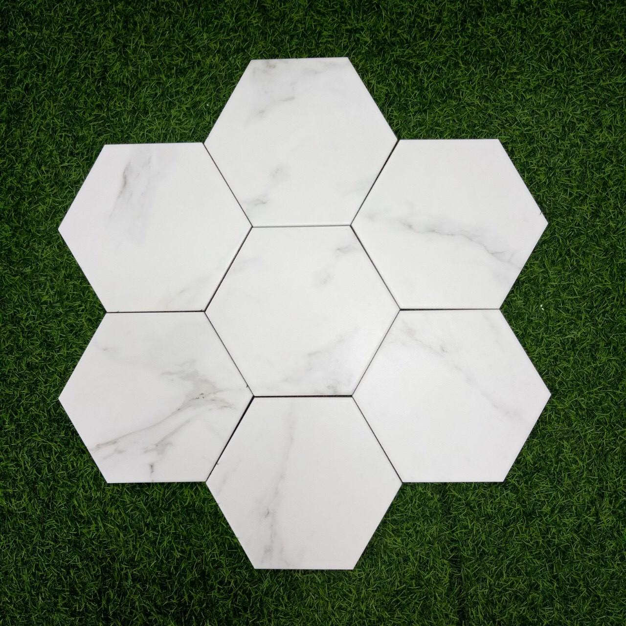Gạch lục giác màu trắng