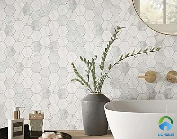 gạch ốp bếp màu trắng mosaic 1
