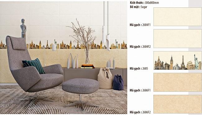 Gạch ốp tường phòng khách Vitto