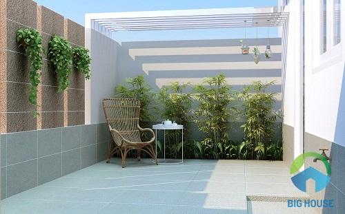 gạch ốp tường sân vườn đẹp mắt