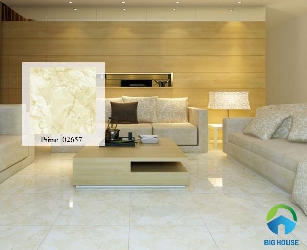 Mẫu gạch giả đá màu trắng vàng nhẹ nhàng, tinh tế phù hợp nhiều phong cách