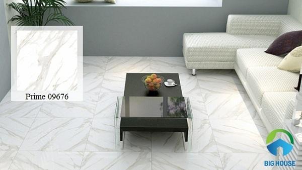 Gạch lát nền vân đá màu trắng mang đến sự trang nhã