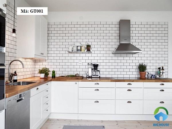 gạch thẻ ốp tường bếp màu trắng
