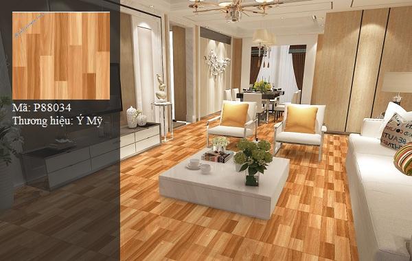 gạch ý mỹ 80x80 vân gỗ thích hợp cho không gian phòng khách