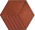 mẫu gạch lục giác 3 sọc màu đỏ sang trọng