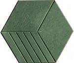 Mẫu gạch lục giác lát 3 sọc xanh