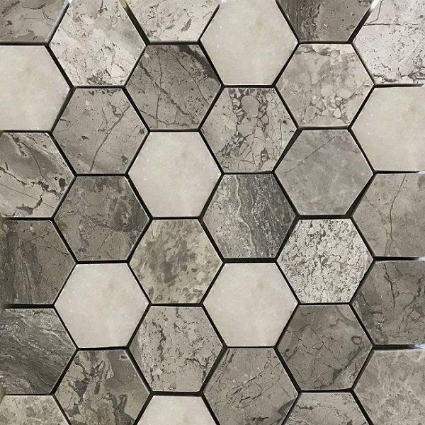 mẫu map gạch lục giác granite màu ghi